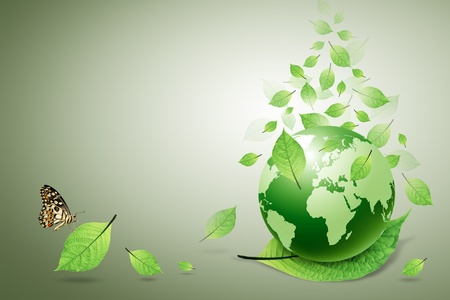 protection of land: green earth and green leaves, butterfly
