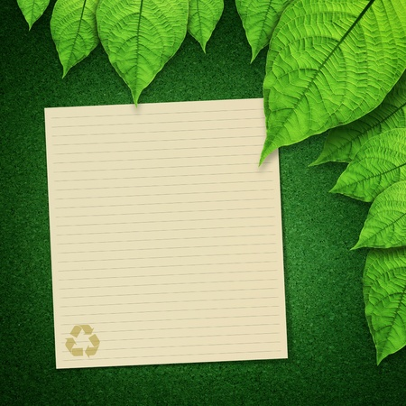 attachments: paper recycle and green leaves