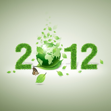 2012 New year made of grass material. consists of  world and green leaf and butterfly photo