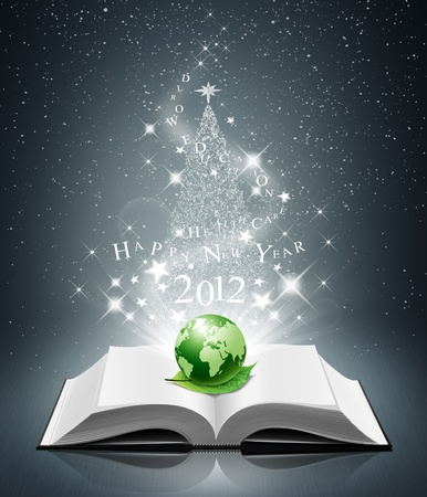 2012 happy new year and green world on open book photo