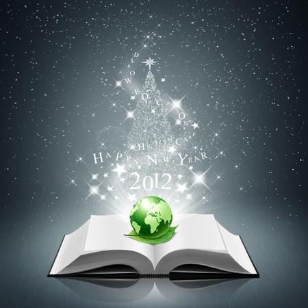 educazione ambientale: felice anno nuovo e il mondo verde, foglia a libro aperto