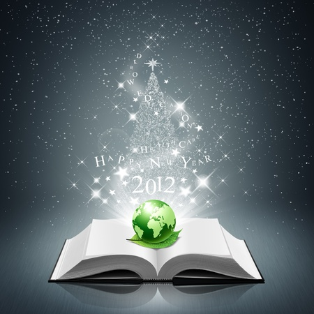 happy new year and green world, leaf on open book  photo