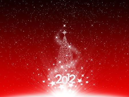 Christmas and snow star 2012 new year on red background  photo