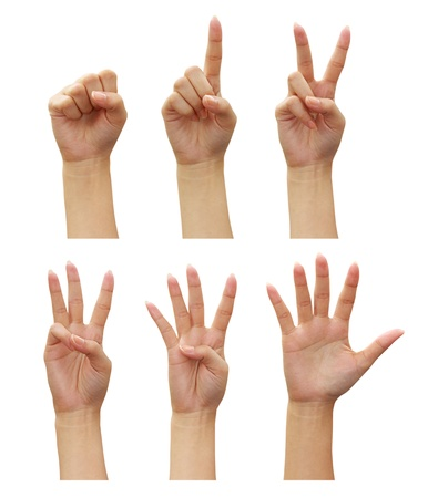 2 5: woman hands Counting (numbers zero to five) isolated on white background Stock Photo
