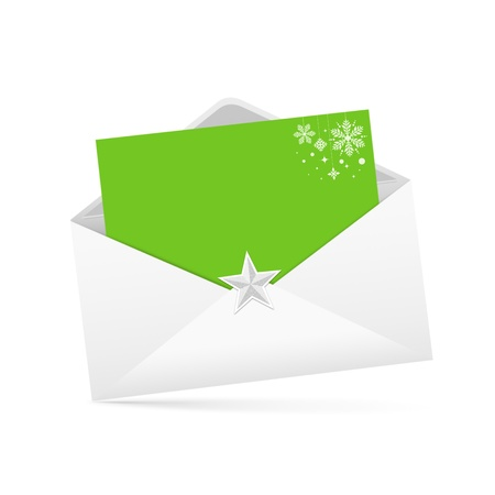 christmas mail: Envelope letter and green paper merry christmas isolated