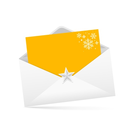 addressed: lettera e la busta di carta gialla merry christmas isolato