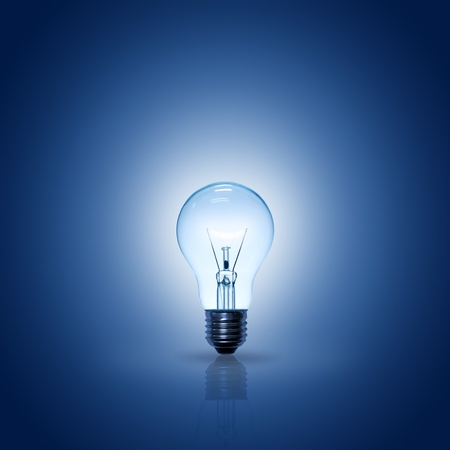 light bulb on blue background, square.
