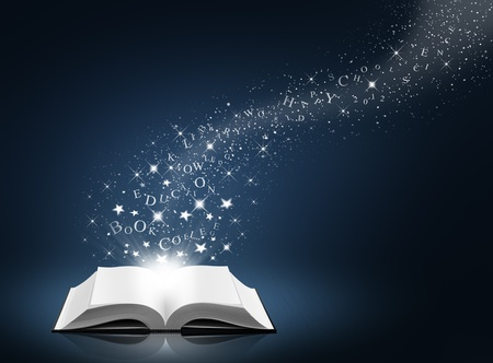 text, star and snow on open white book, blue background  photo