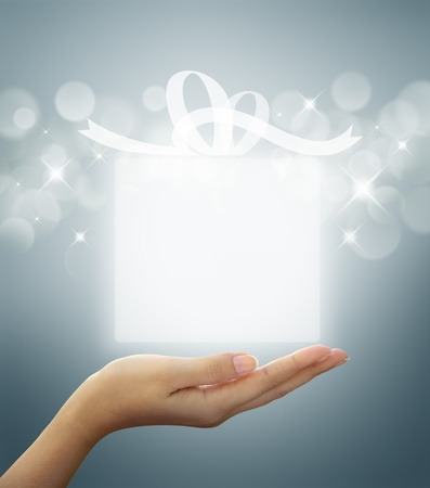 box: gift box Translucent white on woman hand
