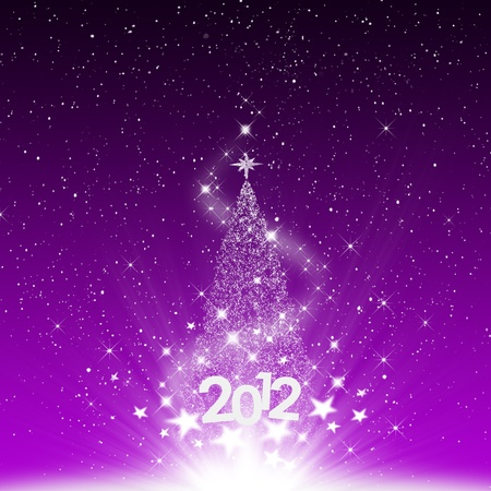 Christmas and snow star 2012 new year on purple background Stock Photo - 11670809