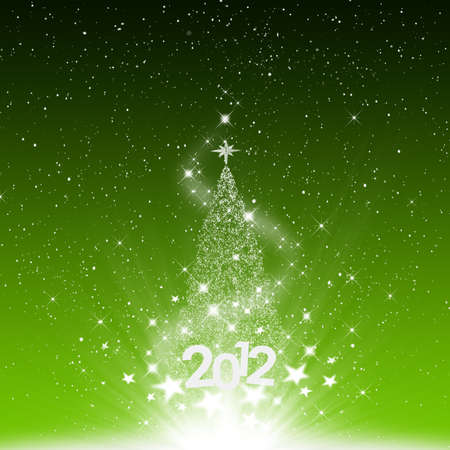 Christmas and snow star 2012 new year on green background Stock Photo - 11670808