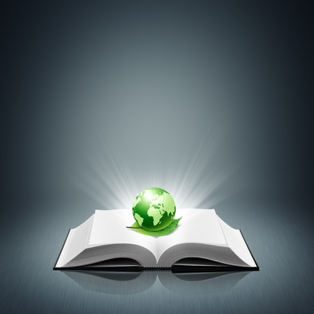 Green world and leaf on open white book Stock Photo - 11771828