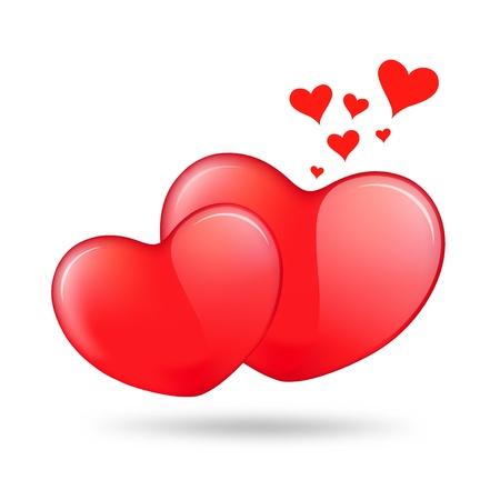 Dos rojo corazón de San Valentín