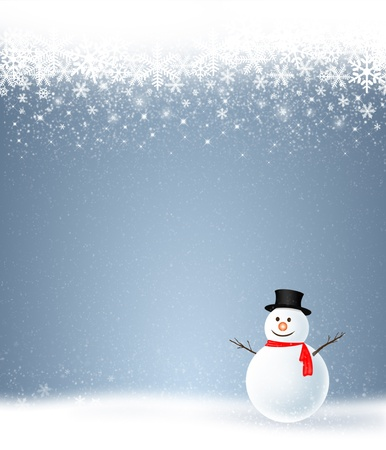 Snowman with the winter holiday season on blue background photo