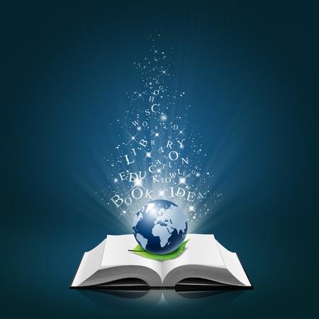 Bleu mondiale et la feuille avec l'idée de texte sur le livre blanc ouvert
