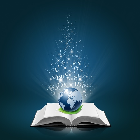 educational: Blue global and leaf with text idea on open white book