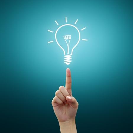 Bulb light on women Fingertip