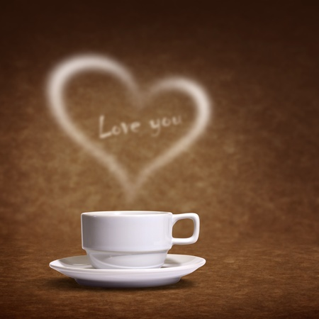 Coffee cup with heart shaped white smoke on brown background photo