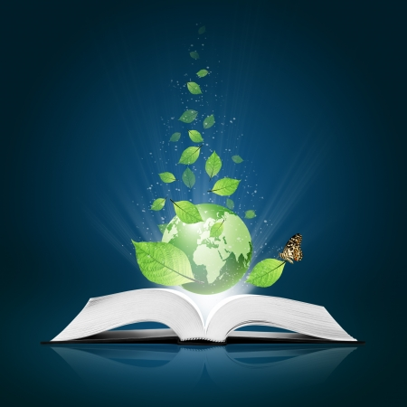 plant science: Green world and leaf have butterfly on open white book  Stock Photo