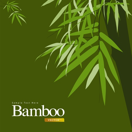 korean traditional: Bamboo green, greeting card illustration