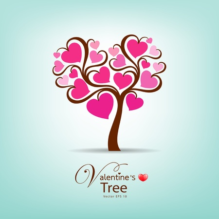 Valentine Day Tree, illustration  Vector