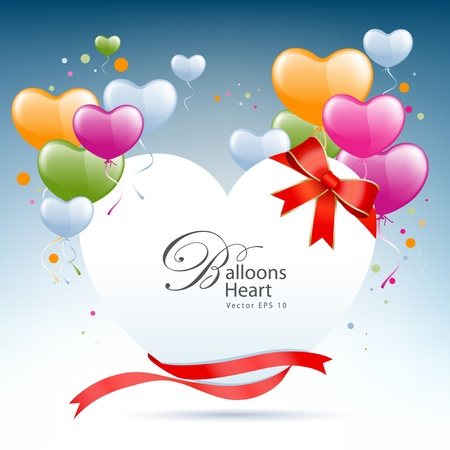 balloon bouquet: Balloon heart card happy valentine day illustration  Illustration