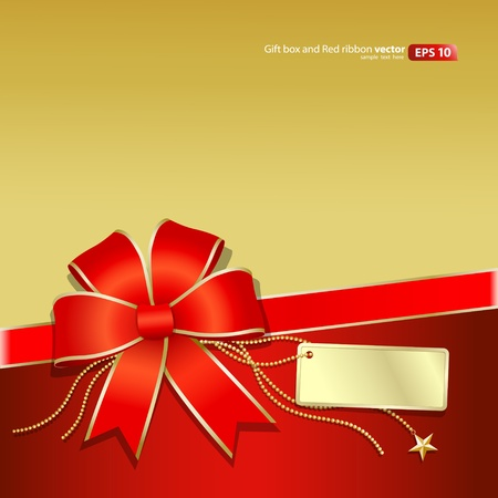 Gift box Gold and Red ribbon Christmas and new year  Vector