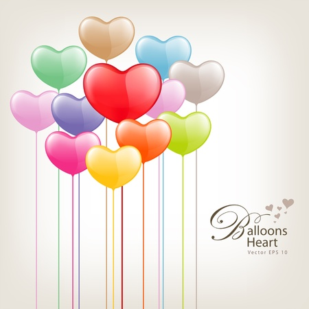 red balloons: Colorful Balloon heart valentine day, illustration