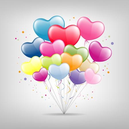 다채로운 풍선 심장 발렌타인 그림