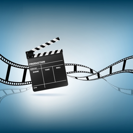 reel: Cinema clapper and film vector illustration