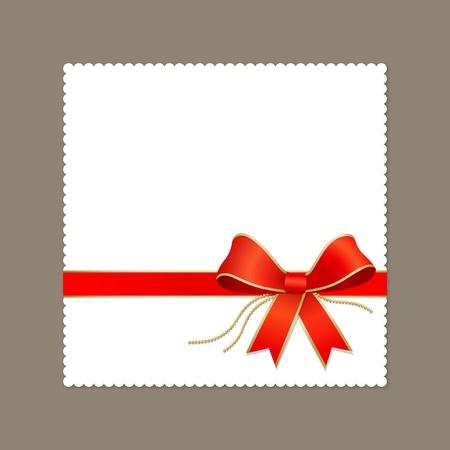 Modern white card red ribbon vector illustration Stock Vector - 12269795