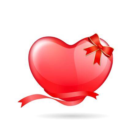 balloon vector: Balloon red heart ribbon valentine day vector illustration