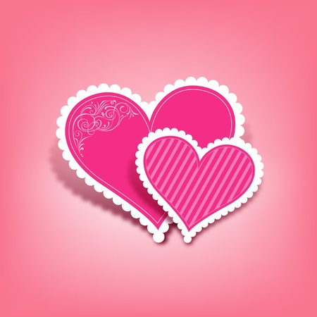 Beautiful pink heart paper classic valentine Stock Vector - 12269799
