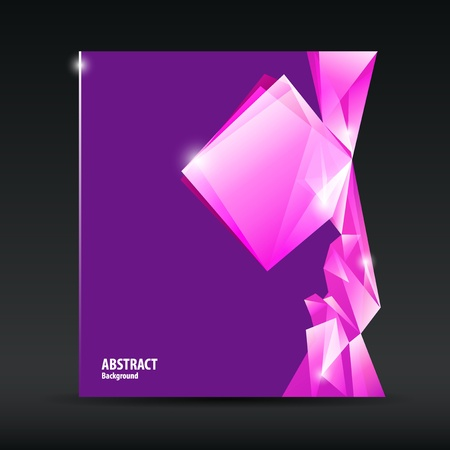 blank brochure: Abstract purple and pink diamond background brochure design, vector illustration
