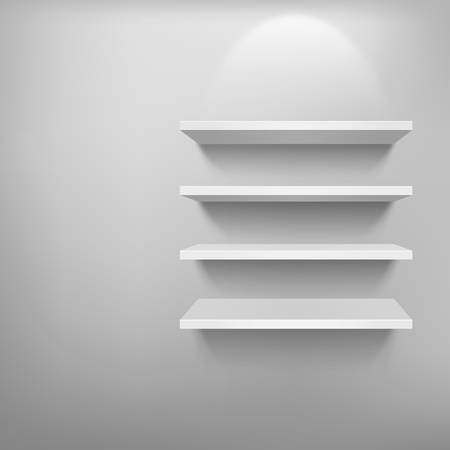 3D Empty white shelf for exhibit, vector illustration