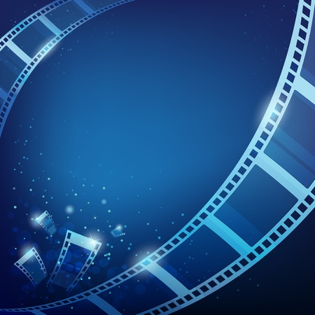 movie screen: film action for photos blue background, vector illustration