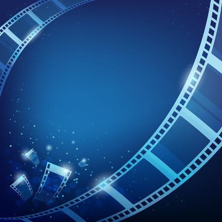 camara de cine: pel�cula de acci�n para las fotos de fondo azul, ilustraci�n vectorial Vectores