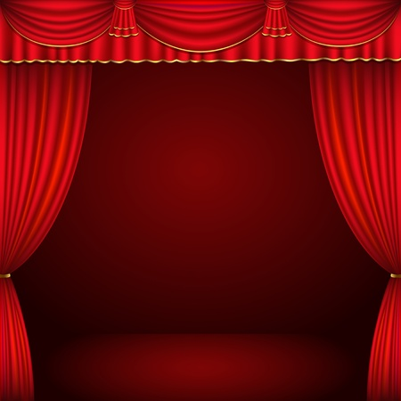 red stage curtain: Red and gold theater curtain classic background  vector illustration