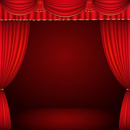 tissu or: Rouge et or du th��tre classique rideau de fond illustration vectorielle