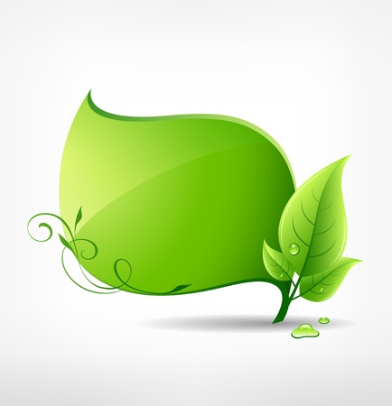earth pollution: Green leaf concept ecology  vector illustration Illustration