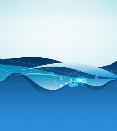 water surface: Abstract blue water background. vector illustration