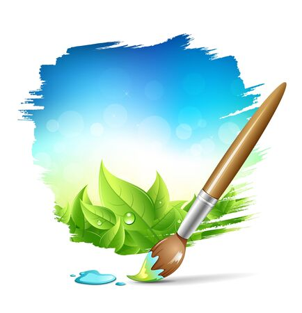 Painting brush natural with blue sky background. vector illustration