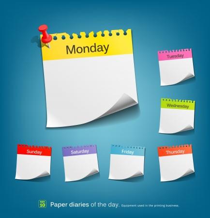 recordar: Nota de papel de colores del día