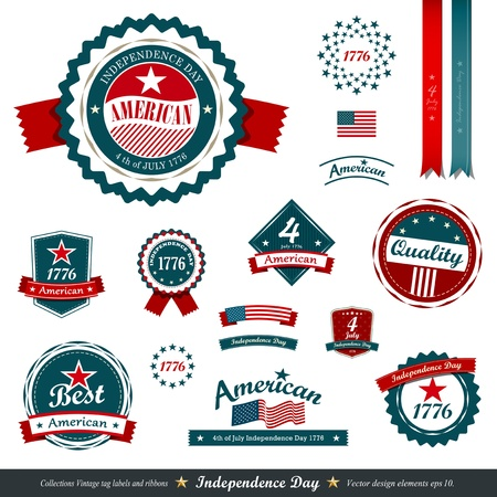 Vintage label and tag set, independence day.  Vector