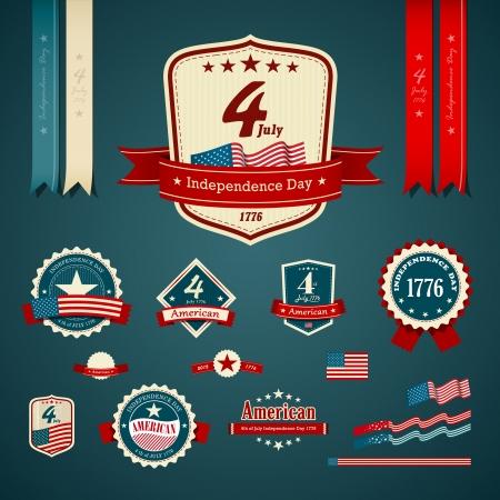 independencia: Etiqueta de la vendimia y set cintas, ilustraci�n D�a de la Independencia Vectores