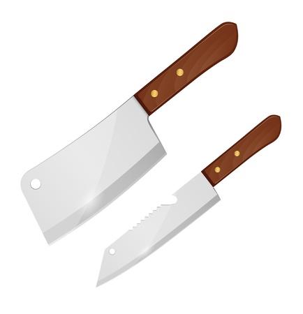 kasap: Büyük bıçak ve küçük bir bıçak illüstrasyon