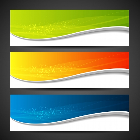 website header: Collection banners modern wave colorful background illustration Illustration