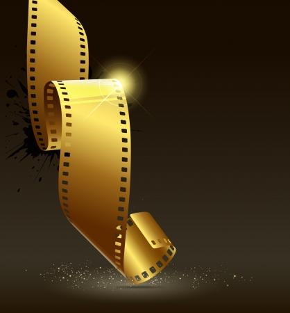 rollo pelicula: Película de rollo de película de oro colorr ilustración