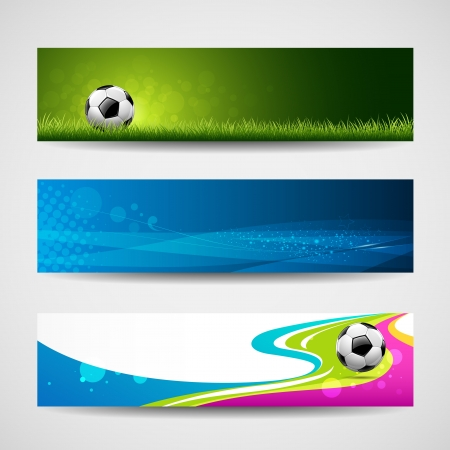 soccer ball on grass: Banner headers soccer ball set design background, vector illustration Illustration