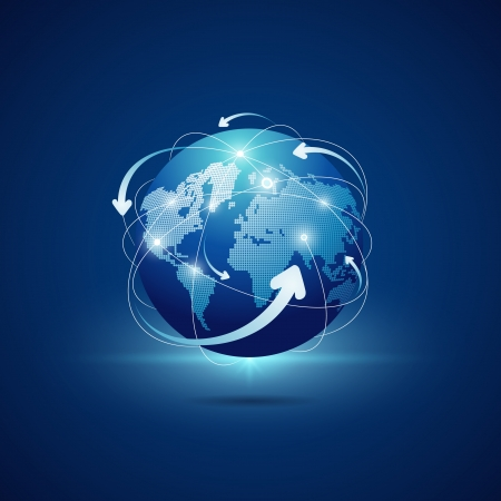 flecha azul: Conexiones mundo moderno dise�o de la red, ilustraci�n vectorial